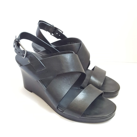 d75d45a594 Cole Haan Shoes | 6 Black Penelope Wedge Sandals Heels | Poshmark